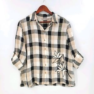 100% Linen Plaided & Embroidered Casual Shirt